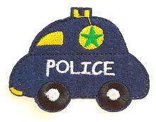 "Термоаппликация машинка ""POLICE"" т.синяя, 7.8 х 6 см"