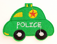 "Термоаппликация машинка ""POLICE"" зеленая, 7.8 х 6 см"