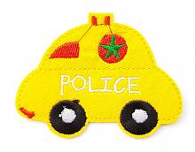 "Термоаппликация машинка ""POLICE"" желтая, 7.8 х 6 см"