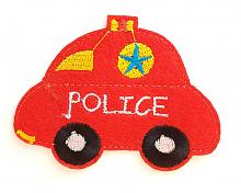 """Термоаппликация машинка """"POLICE"""" красная, 7.8 х 6 см"""
