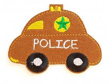 "Термоаппликация машинка ""POLICE"" коричневая, 7.8 х 6 см"