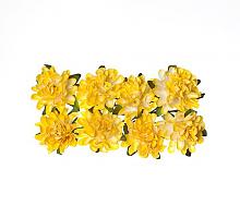 Астры из бумаги нежно-желтые, 8 шт