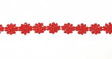Кружево 10мм ромашки т.красное