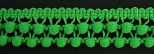 Тесьма двухрядная с мелкими помпонами 14 зеленый