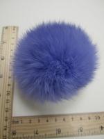 Помпон из меха кролика, цвет королевский синий, 95 мм.