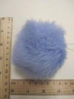 Помпон из меха кролика, светло-синий, 95 мм.