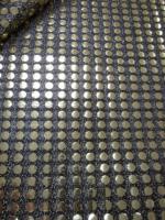 Ткань с пайетками (чешуя) золото на черной сетке