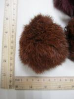 Помпон из меха кролика, рыжий, 90 мм.