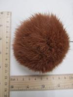 Помпон из меха кролика, рыжий, 95 мм.