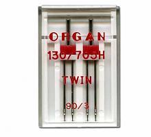 Иглы для бытовых швейных машин Organ двойные 90/3 2 шт в пенале