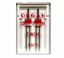 Иглы для бытовых швейных машин Organ двойные 80/3 2 шт в пенале