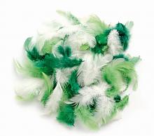 Декоративные перья зеленое ассорти 2г, 30шт