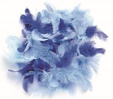 Декоративные перья голубое ассорти 2г, 30шт
