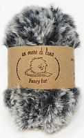 Пряжа Fancy fur (Фанси фе), цвет 714 черно-серый меланж