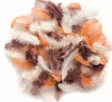 Декоративные перья коричневое ассорти 2г, 30шт