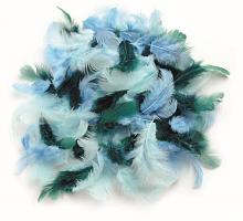 Декоративные перья бирюзовое ассорти 2г, 30шт