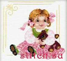"""Набор для вышивания 804 """"Кукла с мишкой"""" 20х20 см"""