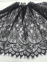 Кружевная ткань черная, 50 х 150 см.