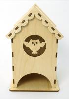 Деревянный чайный домик с совой, 9x9x16 см
