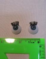 Глаза голубые с ресничками круглые 12мм.
