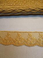 Кружево на сетке золото
