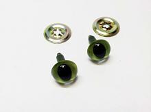 Глаза c кошачьим зрачком с шайбами d 12 мм зеленые 2 пары