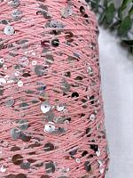 Пайетки 3мм и 6мм на хлопке (бобинная) 111 розовый  с серебряными пайетками  (50 г)