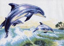 """Рисунок на канве 37х49см арт.456 """"Дельфины"""""""