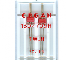 Иглы для бытовых швейных машин Organ двойные 70/1.4 2 шт в пенале
