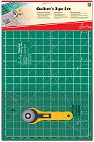 Набор для квилтинга: мат, линейка, нож раскройный круглый