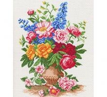 """Рисунок на канве 37х49см арт.520 """"Садовые цветы"""""""