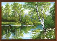 """Рисунок на канве 37х49см арт.1020 """"Березы у озера"""""""