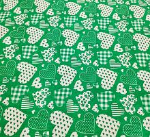 Хлопок 1.5 баварские сердца на зеленом