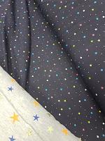Трикотаж звездочки на темно-синем ( цена за 1 см)