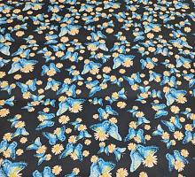 Джинс тонкий стрейч Бабочки голубые на черном