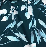 Поплин сине-зеленый листья ( цена за 1 см)