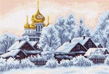 """Рисунок на канве 37х49см арт.1201 """"Деревушка"""""""