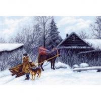 """Рисунок на канве 37х49см арт.1199 """"Зима"""""""