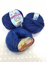 Набор для шапочки Juli-10 синий: пряжа+описание