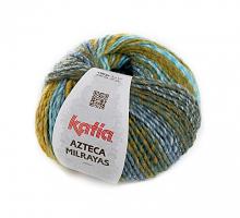 Пряжа Azteca Milrayas, цвет 714 зеленый/бирюзовый