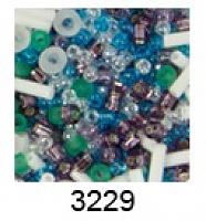 """Бисер """"ТОНО"""" MIX 2 , цвет 3229 бело-зел.-гол.-фиолетовый"""