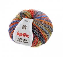 Пряжа Azteca Milrayas, цвет 713 оранжевый/голубой/серый
