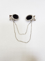 Застежка для кардигана с цепочкой под серебро