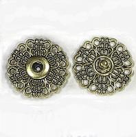 Кнопка пришивная металлическая ажурная золото, 25 мм