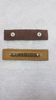 Нашивка, иск.кожа/металл, бежевый FASHION