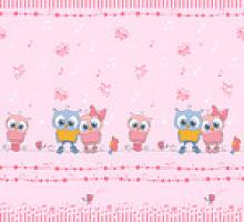 Поплин совушки на розовом