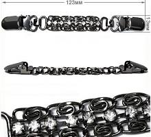Застежка на кардиган со стразами, 13х123мм, темный никель