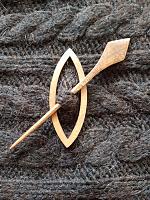 Зажим-застежка (фибула) 13,5 х 8.5 см., дерево