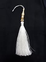 Кисть металлизированная  с бусиной, цвет белый, 160 мм