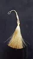 Кисть металлизированная с бусиной, цвет золото, 170 мм